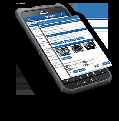 Aplikacja mobilna APP na urządzeniu diagnostycznym lub smartfonie