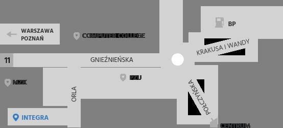 Mapa dojazdu do firmy Integra